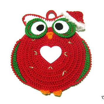 Red Christmas crochet owl potholder, handmade potholder, presina gufo di Natale all'uncinetto