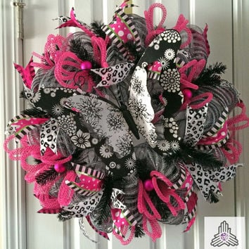 Butterfly Black/White/Pink/Silver Deco Mesh Wreath