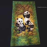 Vintage, Mid Century Printed Panda Bear Fabric Panel by Wesco-Reltex