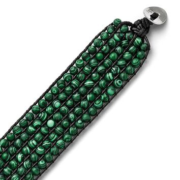 Stainless Steel Men'S Five Row Malachite Leather Cord Bracelet - Loop Clasp