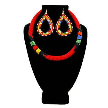 Zulu/Maasai Red and Multi Color Bead Wrapped Tribal Necklace Set with Large Teardrop Earrings