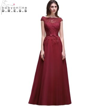 Vestido Madrinha Elegant Burgundy Lace Bridesmaid Dresses Long 2017 Chiffon Wedding Party Dress Robe Demoiselle D'honneur