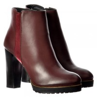 Onlineshoe Mid Block Heel Ankle Boot - Gold Studs, Elasticated Sides - Black, Tan, Bordo - Onlineshoe from Onlineshoe UK