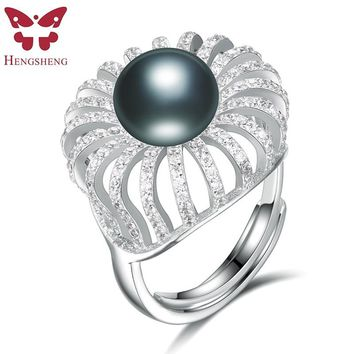 HENGSHENG 100% Genuine Natural Pearl Elegent Women Ring,set with 11-11.5mm pearl and 200 zircons,Crown shape For Party/Wedding