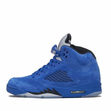 PEAPNO Air Jordan 5 'Blue Suede' [Blue/Black]