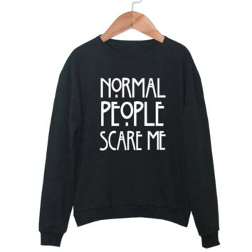 New Womens Norma lPeople Scare Me Printed Round Neck Long Sleeve Sweater