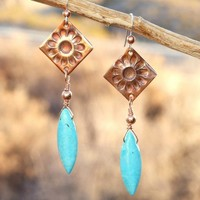 Copper Daisy Turquoise Magnesite Handmade Earrings Dangly Jewelry OOAK | ShadowDogDesigns - Jewelry on ArtFire