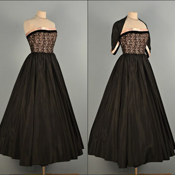 Vintage 1950s Prom Dress...Beautiful JUNIOR COUTURE Midnight Black Taffeta Strapless Evening Dress With Shrug Party Dress Small X-Small
