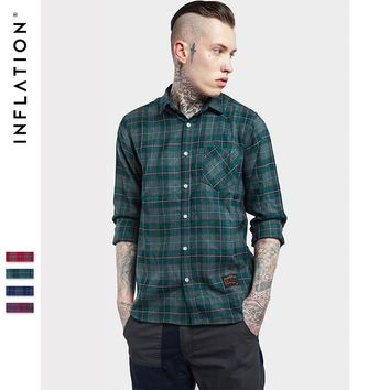 INFLATION  Mens  2017 Autumn & Winter Fashion  Hip Hop Men Plaid Flannel Casual Shirt 062W16