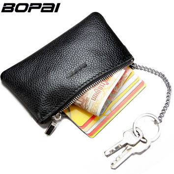 Genuine Leather Coin Purse Leather Zipper Coin Pouch Men Women Coin Wallet Change Pocket Leather Key Bag monederos mujer monedas