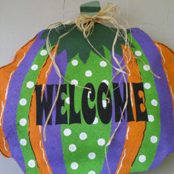 Fall Pumpkin Welcome Multi Polka Dot Burlap Door Wall Cute Hanger Handpainted Wreath