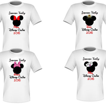 Personalized Set of 4 Disney Cruise Family Shirts T-shirts Mickey Minnie Very Nice!