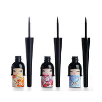 (Min. Mix Order) Cosmetic Waterproof Liquid Eyeliner Pen Makeup in Cute Dool Bottle Women Beauty Care Eye Liner