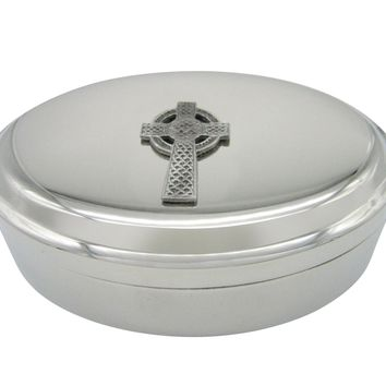 Very Large Celtic Cross Pendant Oval Trinket Jewelry Box
