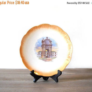 ON SALE - Plymouth Rock Plate, National China, Thanksgiving Decor, Orange Lustre Serving Plate, Plymouth Mass Souvenir Dish