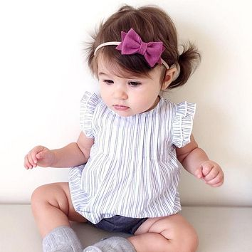 Toddler Baby Girls Dress Infant Baby Girls Striped Princess Dresses Summer Cotton Sleeveless Blue O-Neck Girls Short Mini Dress
