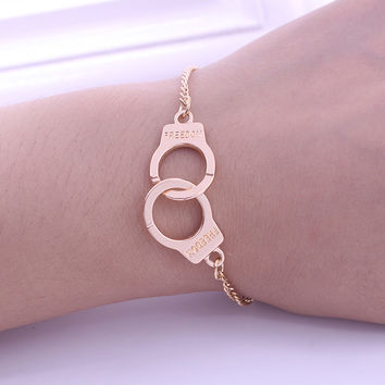 New Arrival Trade 2 Colors Trends Handcuffs Bracelets For Women Fashion Carved DON Couples lock Bracelets & Bangles