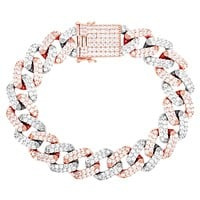 Two Tone Rose Men's 15mm Iced Out Square Link Cuban Bracelet
