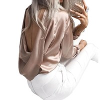 Satin Blouse Hollow Out Back, O-Neck Long Sleeve Ladies Top