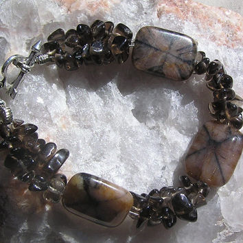"Brown Chiastolite & Smoky Quartz  Crystal Gemstone Bracelet ""Cappuccino"""