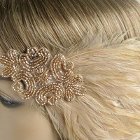 Great Gatsby Wedding Headband, Flapper Style Beaded Headband, Champagne Beaded Feather Fascinator