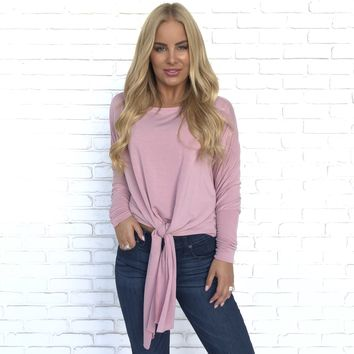 True In Time Knot Jersey Dolman Top In Pink