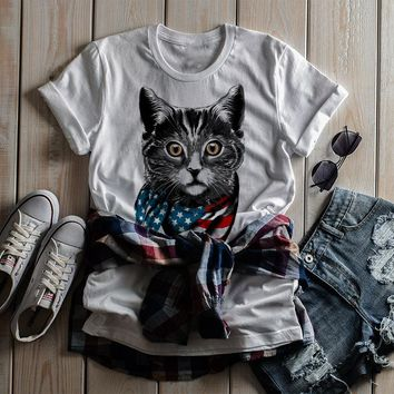 Shirts By Sarah Women's American Cat T-Shirt Americat Patriotic Shirts 4th July Flag