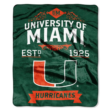 Miami Hurricanes NCAA Royal Plush Raschel Blanket (Label Series) (50x60)