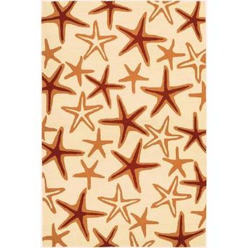 Couristan Beachfront Starfish Rug In Ivory-Coral