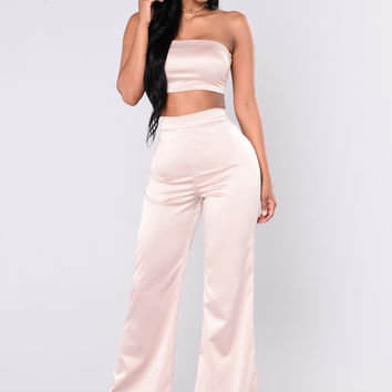 Independent Woman Satin Set - Champagne