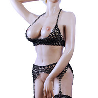 Chain Ouvert BRA body chain Lingerie Dessous Silver Black Choose over size 34A to 40DDD Cross BDSM Harness Fetish Gothic
