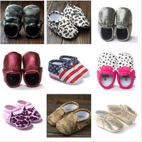 24 Style Baby PU Leather Shoes Moccasins Soft Shoe freshly-picked Handmade Camouflage Tassel Toddler Prewalker.