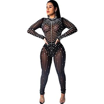 See Throug Mesh Diamonds Jumpsuit