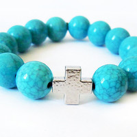 Simulated Turquoise Cross Bracelet