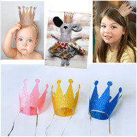 6pcs/Lot Birthday Princess Prince Crown Cap Party Hats Headgear Birthday Party Decorations Kids Festive Party Supplies