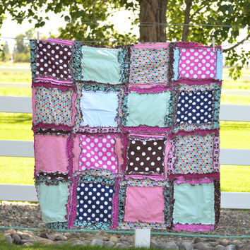 Girl Rag Quilt, Turquoise, Pink and Brown, Ready to Ship 1 Business Day