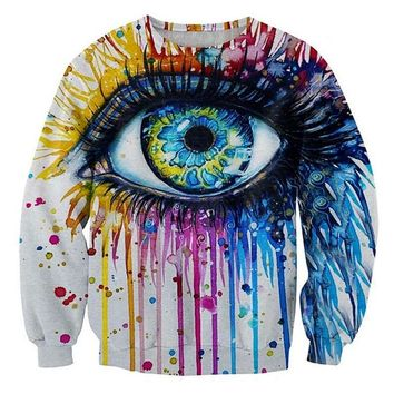 Sweatshirt Hoodies Men Funny Print Big Eye Oil Painting Novelty Crewneck Sportwear Winter Pullover Hoody For Unisex Man