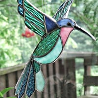 Green and blue stained glass large 3D hummingbird window hanging, suncatcher ornament. Outdoor garden decor, gift for mom, friend's gift
