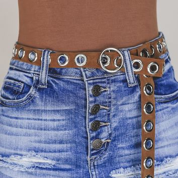 Ring It In Camel Leather Belt