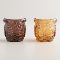 Glass Owl Tealight Candleholders, Set of 2 - World Market