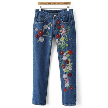 Hot sale fashion embroidery show thin cowboy pants