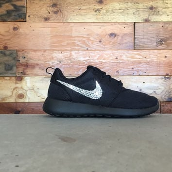 Nike Roshe One Customized by Glitter Kicks - BLACK WHITE eaea84b7d