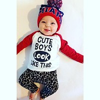 2016 new Autumn  baby clothing baby boy clothes Letter pattern baby Romper baby girl clothes newborn  clothing set