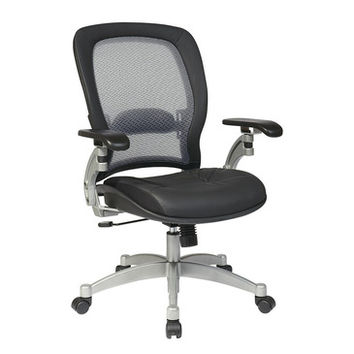 Space Seating 36 Series Professional Light AirGrid Chair w/ Leather Seat & Platinum Finish Accents - Cantilever Arms