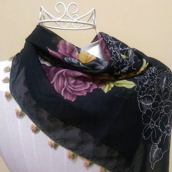 DISCOUNT!! Black Oya Scarf, Black Yemeni Scarf, Turkish Scarf, Oya Scarf, Black Turkish Scarf,Ethnic Scarf,Womens Scarf,Turkish Lace Scarf