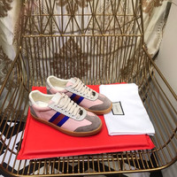 GUCCI Leather and suede Web sneaker