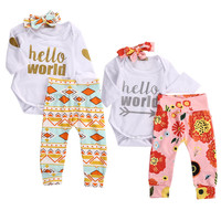 Newborn Baby Girls Tops Bodysuits + Floral Pants Casual Headband Flower Cute Baby Girl Outfits Set Autumn