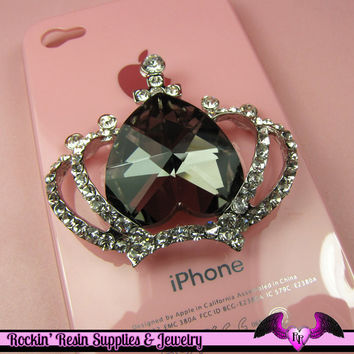3D CROWN with Crystals for your Cell phone Decoden DIY in Grey Black