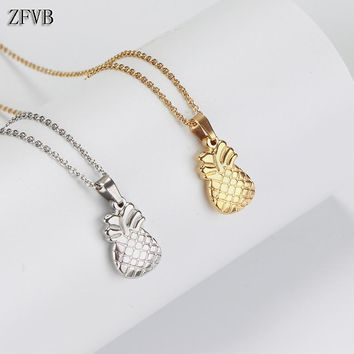 ZFVB Classic Cute Mushroom Necklaces Pendant Women Stainless Steel Gold color Lovely Chokers Pendants Necklace Party Jewelry