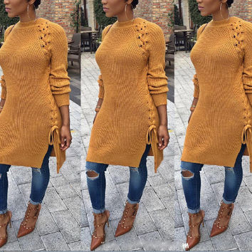 Sweater Hollow Out Ripped Holes Needles Tops One Piece Dress [8341500609]